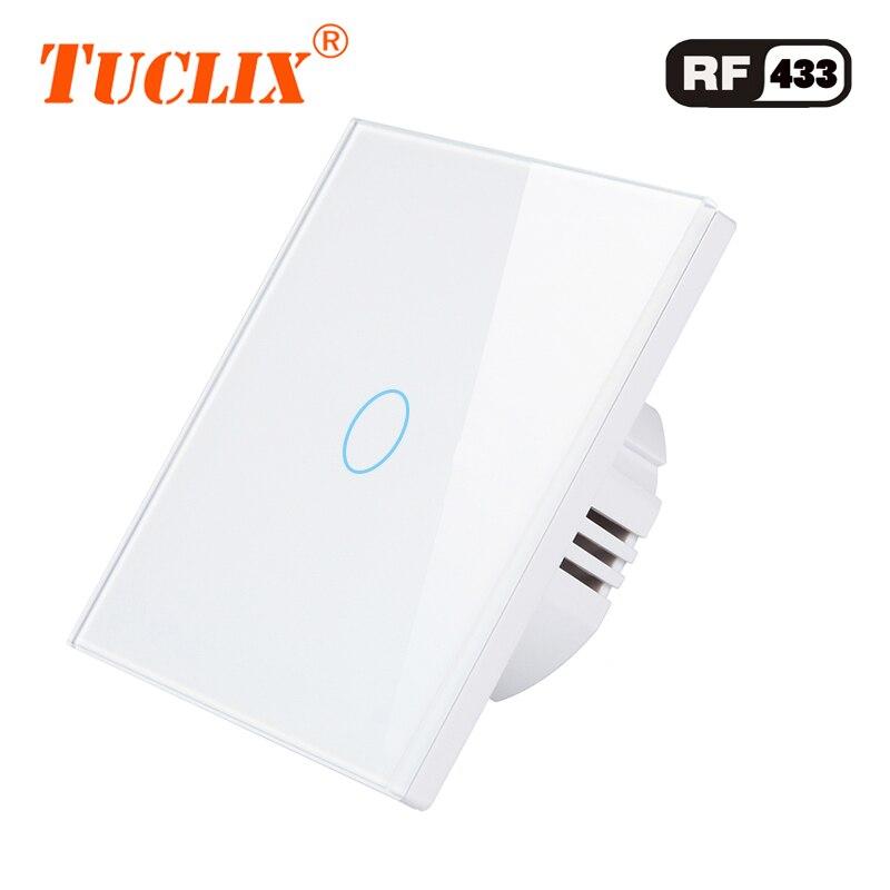 TUCLIX UE/UK Universal de la pared interruptor de la luz de 110-240 V 1/2/3/banda RF433 remoto interruptor de Control de Panel de vidrio de cristal interruptor