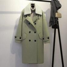 秋パーカーウール女性冬コート女性olロング高品質ウール緩い暖かいウールコート女性