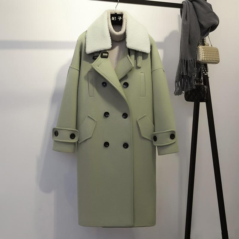 Autumn parka woolen female Winter Coat Women OL Long High quality Wool Loose Warm Woolen Coat Women