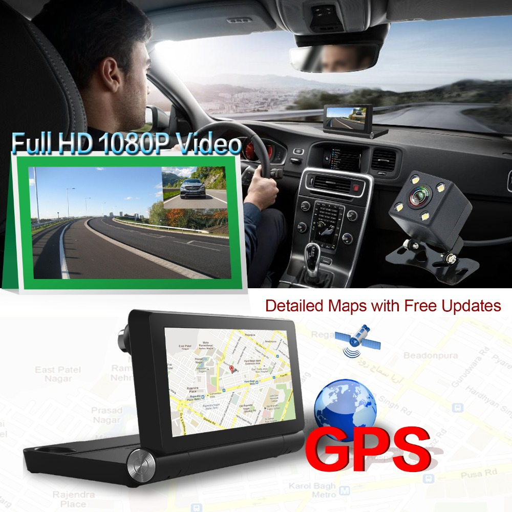 Dealcoo Dash Cam with 7 inch Recorder Camera with Android ADAS Two Cameras 1080P Full HD 4G&WIFI Parking Monitor GPS Navigation