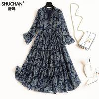 Shuchan Indie Folk Print Dress With Three Quarter V neck Beading Long Dresses high quality new style 2019 spring summer 10326