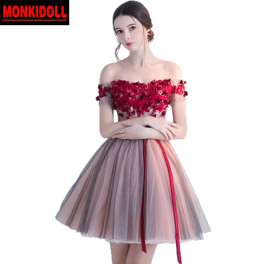 1e21f52ed6e Elegant Flowers Tulle Homecoming Dresses 2019 Short Ball Gowns Prom Dress  Sash Sexy Cute Graduation Gowns Semi Formal Gown Cheap