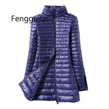 Winter Women Down Jacket Female Ultra Light Stand Collar 90% White Duck Down Jackets Slim Long Sleeve Warm Slim Long Coat Parkas все цены