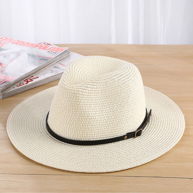 50250cc43a81 Classic Women Men Summer Toquilla Straw Sun Hat For Elegant Lady Wide Brim  Homburg Fedora Sunbonnet Beach Sunhat Panama Cap