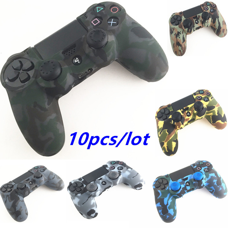 For Playstation 4 PS4 Controller PS4 Pro Slim Camouflage Camo Silicone Guards sleeve Skin Grip Cover Case Protector 10pcs+20 cap
