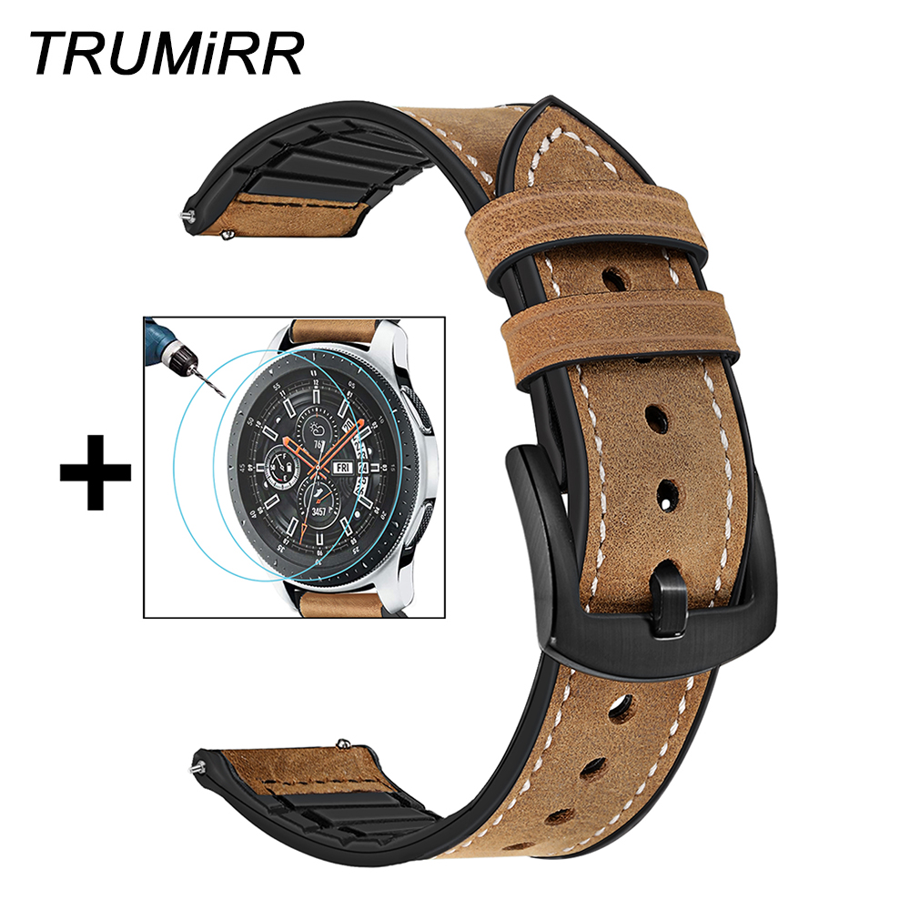 TRUMiRR Genuine Leather & Silicone Rubber Band +Screen Protectors for Samsung Galaxy Watch 46mm 42mm Watchband Steel Clasp Strap-in Watchbands from Watches