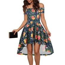 Elegante Fuera del Hombro de Slash Cuello de la Impresión Floral de las mujeres de La Manera Irregular del Estilo de Lolita Del Partido de Coctel Plisado Vestido Skater 400234