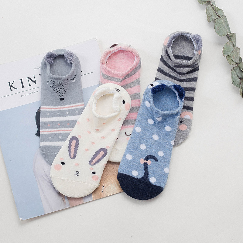 Summer cartoon print women 39 s socks colorful cute casual fashion ankle cotton socks boat socks 2 pairs in Socks from Underwear amp Sleepwears
