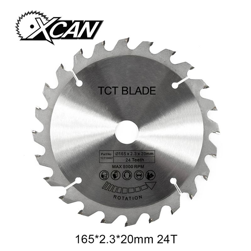 цена на XCAN 1pc 6-1/2''inch 165mm 24Tooth TCT saw blade with 2.3 cutting Kerf 20mm bore circular saw blade for woodworking