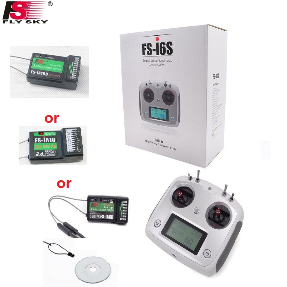FlySky FS-I6S Remote Controller FS i6s 2.4G 6ch Radio Transmitter with FS-iA6B FS-iA10B Receiver for RC Airplane Quadcopter toys niorfnio portable 0 6w fm transmitter mp3 broadcast radio transmitter for car meeting tour guide y4409b