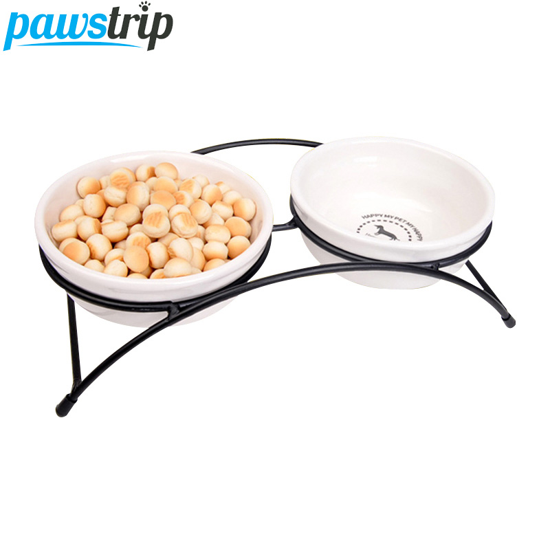 pawstrip Elevated Dog Bowl Ceramics Stainless Steel Pet Feeder Cat Bowl Double Pet Food Bowl For Dog Cats 12.5*8*5cm image