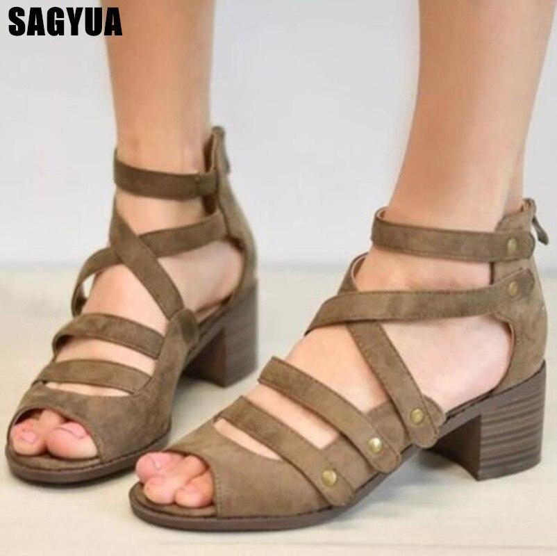 2019 New Gladiator Sandals women Open toe Platform shoes Ladies Wedges Casual shoe rivet High heels Wedding pumps Plus size A59