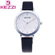 2016 Oficial de Autorizar Marca KEZZI Mujeres de Lujo Reloj de pulsera de Cuero Japón MOV Analógico Relogio Feminino Regalo QuartzWatch KZ18