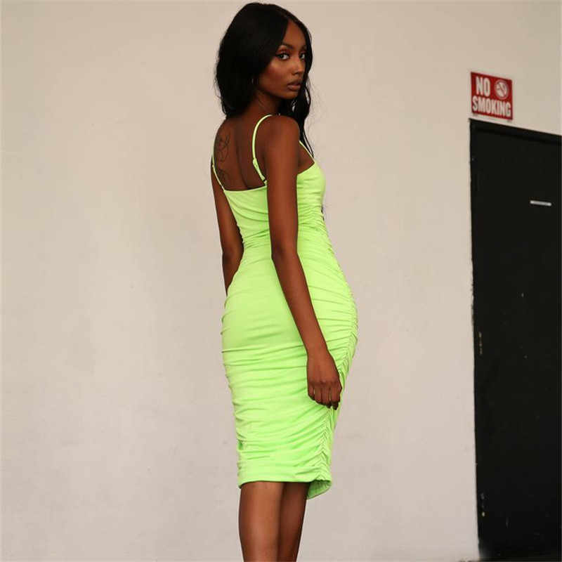 c32066fa8969e6 ... ANJAMANOR Fashion Neon Sexy Bodycon Dress Green Pink Ruched Sleeveless Midi  Bandage Dresses Woman Party Night ...