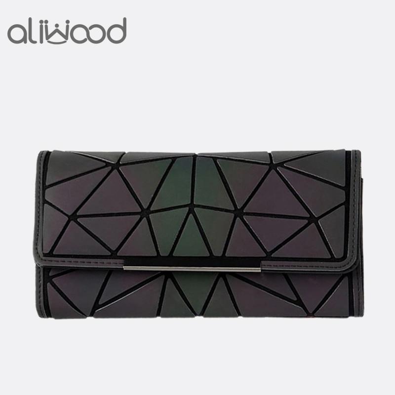 Aliwood 2018 caliente marca Bao billetera mujer embrague señoras tarjetas bolsa de moda geométrica Bolsos De Mujer noctilucentes luminosa monedero largo