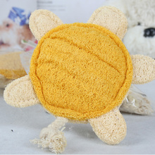 Lovely Pet Toy Tortoise Shaped loofah Sponge Dog Cat Chew Toy many  Colors