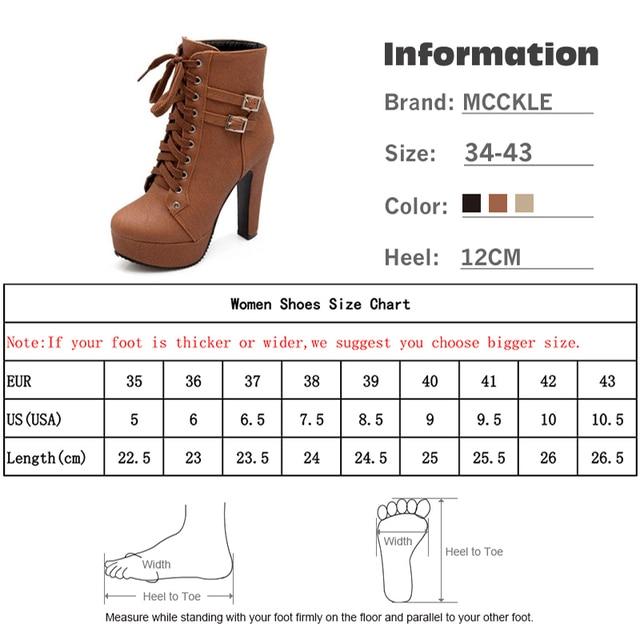 MCCKLE Plus Size Ankle Boots Women Platform High Heels Female Lace Up Women's Shoes Buckle Woman Short Boot Ladies Footwear 6