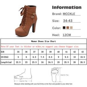 Image 5 - MCCKLE حجم كبير حذاء من الجلد النساء منصة عالية الكعب الإناث الدانتيل يصل أحذية نسائية مشبك امرأة التمهيد القصير السيدات الأحذية