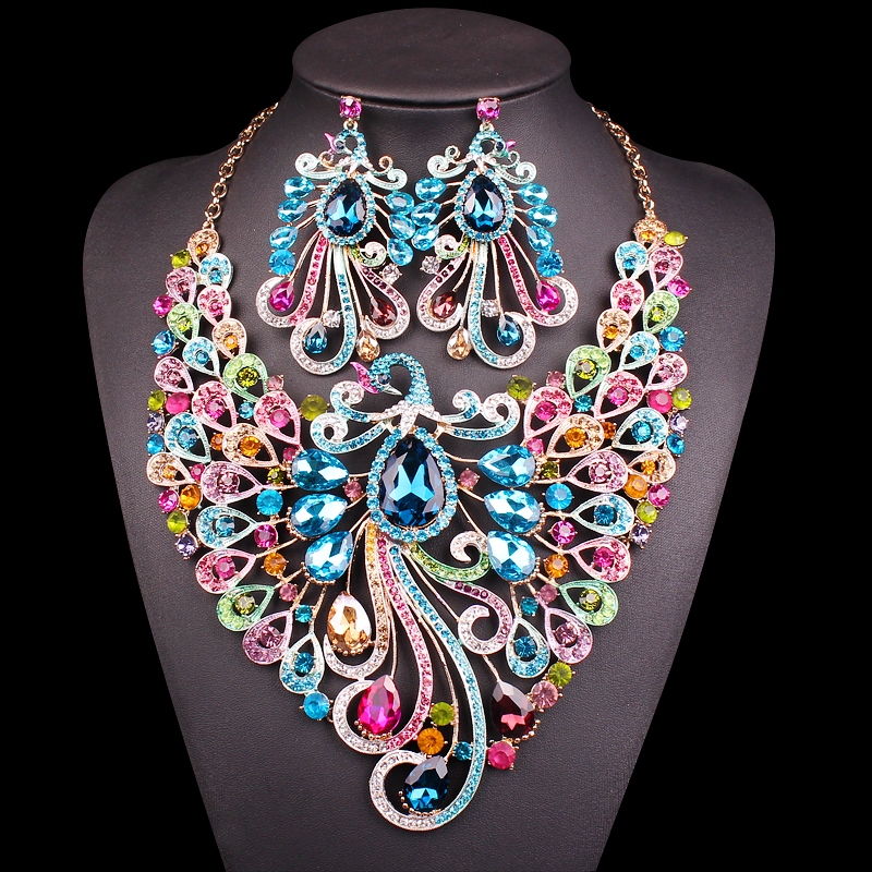 Big Crystal Bridal Jewelry Sets Wedding Party Costume Accessory Indian Necklace Earrings for bride Peacock jewellery