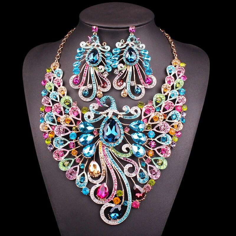 Grand Cristal De Mariée Parures De Mariage Costume Party Accessoire Indien Collier Boucles D'oreilles pour mariée Paon bijoux ensembles Femmes