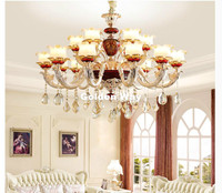European Crystal Chandelier Alloy Chandeliers Decorative Living Room Candle LED Lamps Restaurant Pure Golden Luxury Hanging Lamp