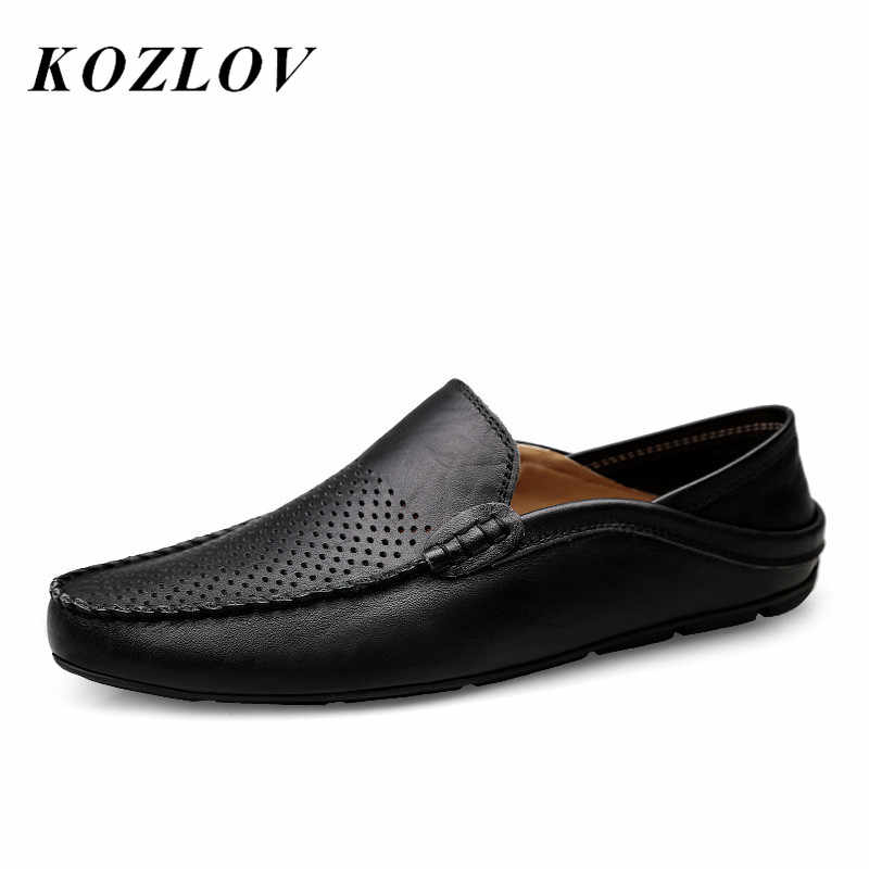 KOZLOV Italian Summer Hollow Shoes Men Casual Luxury Brand Genuine Leather Loafers Men Breathable Boat Shoes Slip On Moccasins