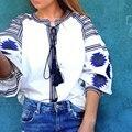 Más tamaño blusas de la muchacha mujer otoño nuevo patrón de viento nacional elegante manga farol bordado de las borlas de la camisa para mujer