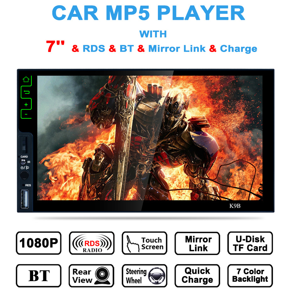 7 Inch Bluetooth Touch Screen 2 Din Car Radio 2din MP5 Player Car Multimedia Player FM Radio Support USB/AUX/Rear View Camera new 7 inch 2din bluetooth car radio video mp5 player auto radio fm 18 channel hd 1080p in dash remote control rear view camera