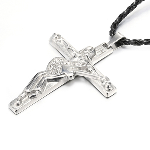 Ожерелье с подвеской в виде креста на гитаре для Мужчин, Ювелирные изделия из нержавеющей стали 316, плавающий медальон, подвески, христианское распятие