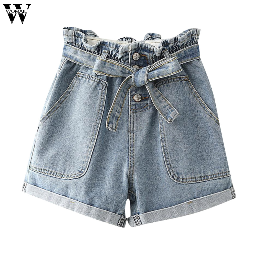 Womail Short Women Summer Sexy High Waist Big Pocket Bow Denim Shorts For Women Mini Denim Short Slim NEW 2019 M522