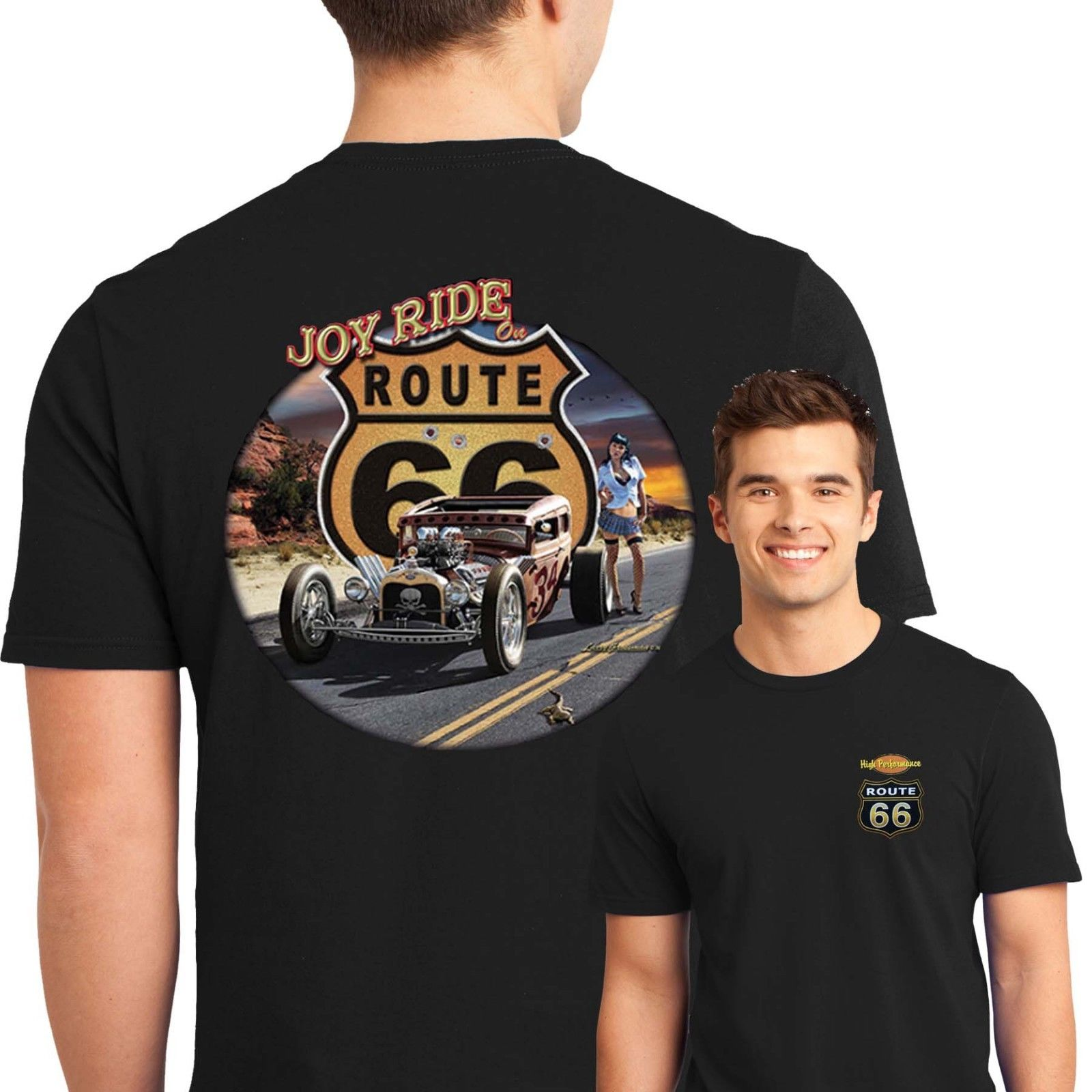 2019 Fashion Free shipping <font><b>Route</b></font> <font><b>66</b></font> <font><b>T</b></font> <font><b>Shirts</b></font> Rat Rod Pinup Girls Joy Ride USA Small to 2XL Free Shipping Tee <font><b>shirt</b></font> image