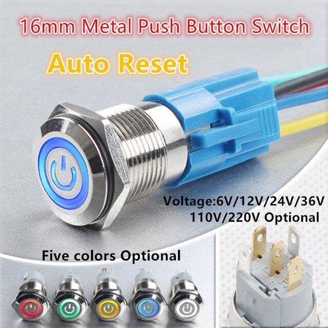 16mm Waterproof Momentary flat Round Power symbol Metal Push Button ...