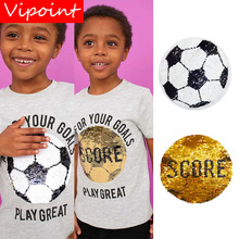 VIPOINT embroidery Sequins big football patches score badges applique for clothing ZM-64