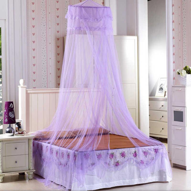 Elegante Rodada Rendas Inseto Cama de Dossel para 1/1. 2/1. 35/1. 5 m Cama Pendurada Netting Cortina Dome Mosquito Net Cama Casa de Viagem Ao Ar Livre