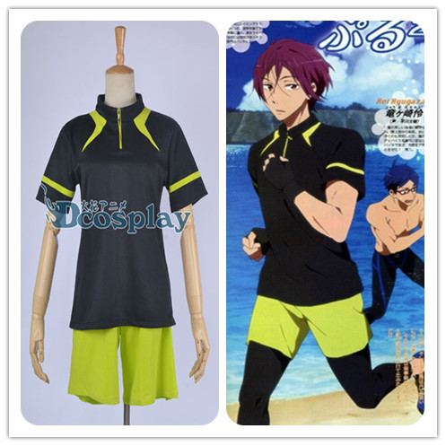 Free! Iwatobi Swim Club Rin Matsuoka Cosplay Costume sport suit t shirt+short pants+gloves free shipping