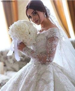 Image 3 - 2020 принцесса, роскошные ювелирные изделия из чистого кружевное свадебное платье в африканском стиле саудовско Аравийский Dubai длинный рукав церкви вечернее платье невесты свадебное платье размера плюс