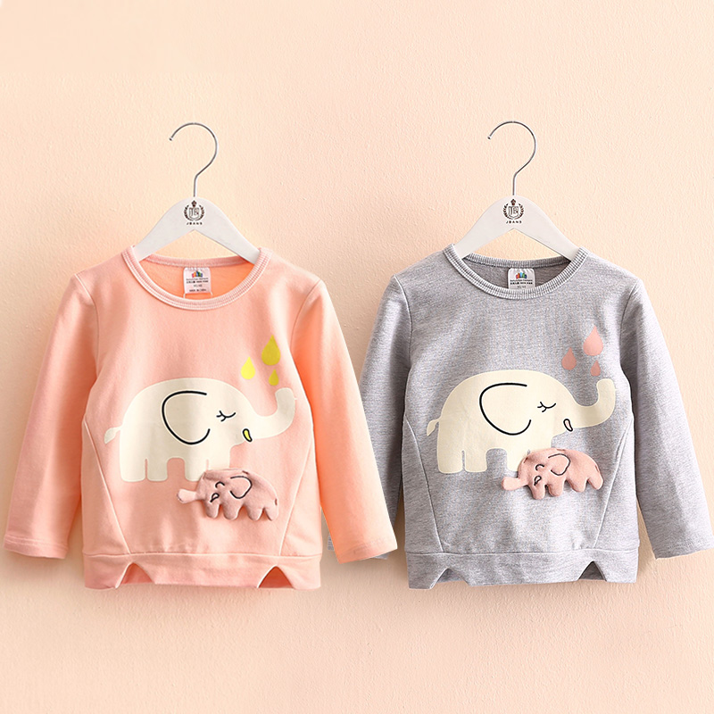 2018 Spring Autumn Female 2 10 Years Old ChildrenS Birthday Gift Long Sleeve Cartoon Elephant Baby Kids Sweatshirt For Girls In Hoodies Sweatshirts From