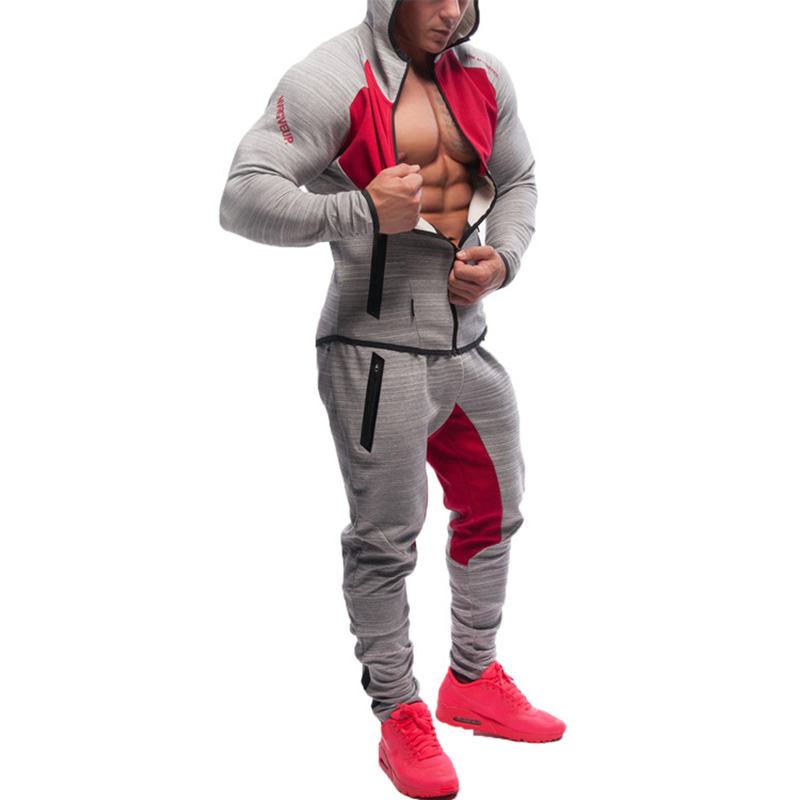 SJ 2018 Men's Sportswear Trainingspak Mannenr 2 Piece Set Sporting Suit Jacket+Pant Sweatsuit Men Clothing Tracksuit Set
