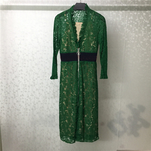 2019 Women Dress Summer Elegant Green Lace High Waist V Neck Long Dresses Casual
