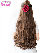 hot deal buy  wtb 18 colors 24 inch long wavy synthetic 5 clip in hair extensions heat resistant synthetic black blonde red hairpiece for wom