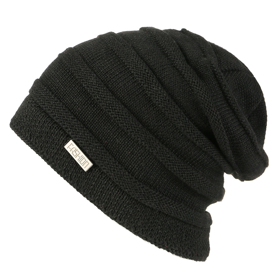 3e3fe7cf7e6 2018 Warm Solid Men Hats Winter Black Baggy Oversized Beanies for Men  Winter Wo Skullies Beanies Double Cot Kintted Cap