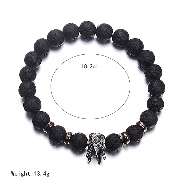 Lava Stone Imperial Crown Charm Bracelet