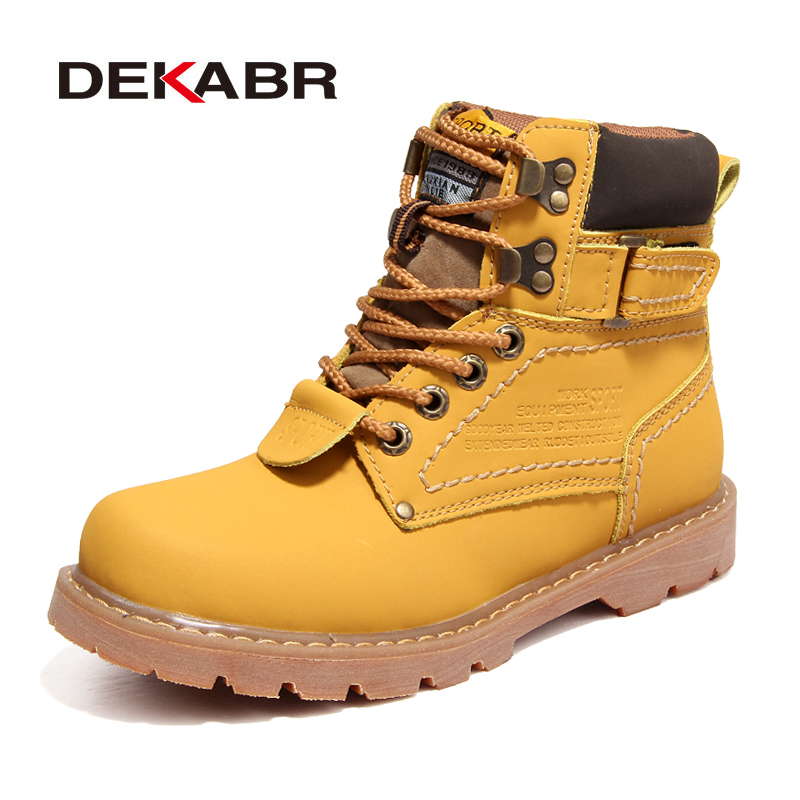 DEKABR Brand Men Boots High Top Warm Snow Boots Men Winter Casual Shoes Handmade High Quality Waterproof Work Boots Plus 35~46