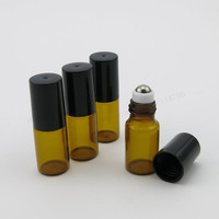 30 X 3ml Amber Glass Roll On Bottle With Stainless Steel Roller Ball 3cc Roll On