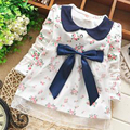 New Fashion Lace Baby Girls Cotton Dress Big Bow Infants Nice Floral Dresses free shipping