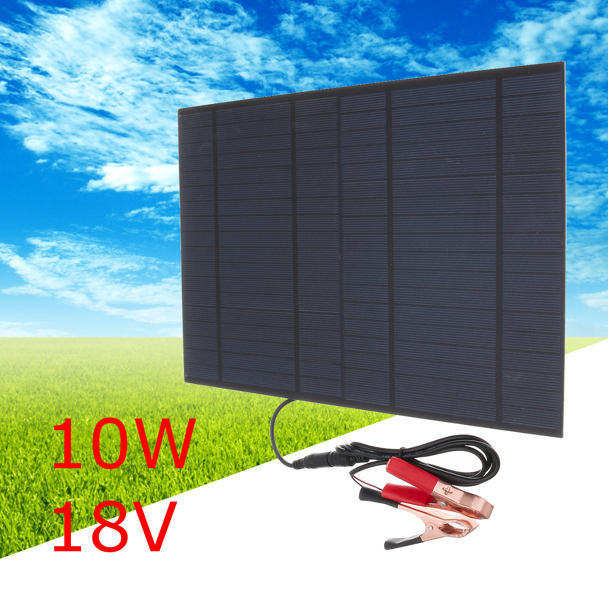 Solar Panel 18V 10W 0.55A monocrystalline polycrystalline DIY module cell charge for 12V battery 10 watts With 2 Clips and Cable