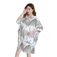 Cotton Maternity Long Blouse Pregnancy Tops Soft Maternity Clothes Striped Three Quarter Shirts Women Clothing White Color