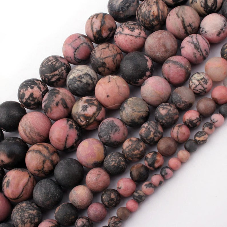 Black Rhodonite Matte Beads, Natural Gemstone Beads, Loose Frosted Beads, Round Beads, 6mm 8mm 10mm 1