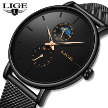 2019 LIGE Mens Watches Top Brand Luxury Quartz Men Watch Mesh Belt Waterproof Sport Male Clock Man Wristwatch