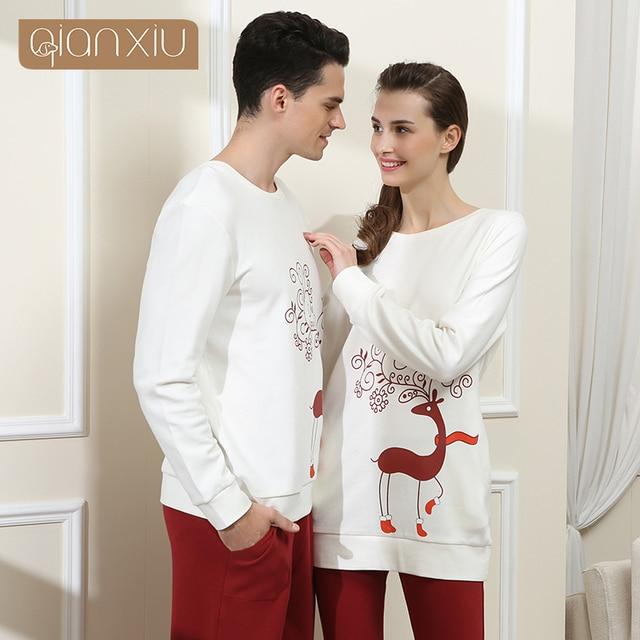 Qianxiu Pajamas sets For  Men cotton sleepwear  Long sleeve nightwear O-neck Lounge wear